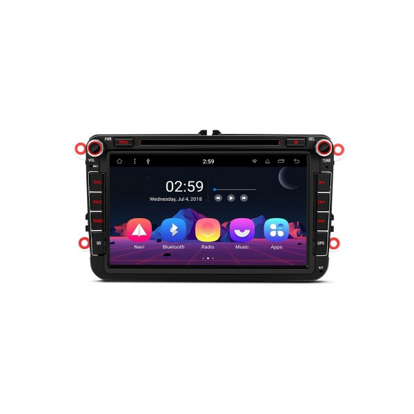 "RADIO DVD GPS Android 8.1 Seat VW Skoda LCD Táctil 8"" GPS BLUETOOTH WIFI"