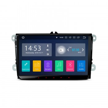 "Radio GPS Android 8.1 LCD táctil 9"" VW Seat y Skoda CarPlay y Full RCA"