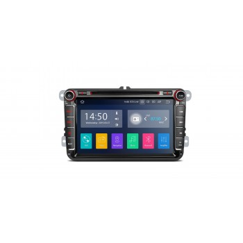"Navegador Android 9.0 Pie LCD táctil 8"" VW Seat y Skoda CarPlay Full RCA"